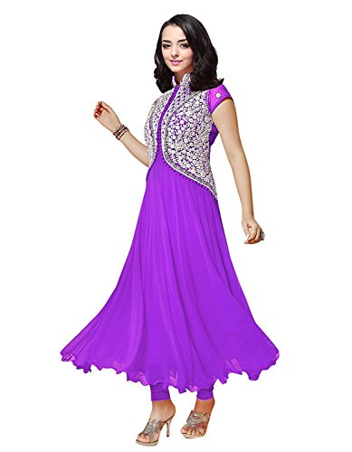Clickedia Women's Georgette Women and Girls Koti style Anarkali Suit Purple Free Size  available at amazon for Rs.329