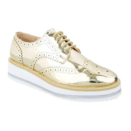 King Of Shoes Damen Halbschuhe Brogues Schnürer Dandy Lack Plateauschuhe Keilabsatz Metallic 003 (40, Gold)