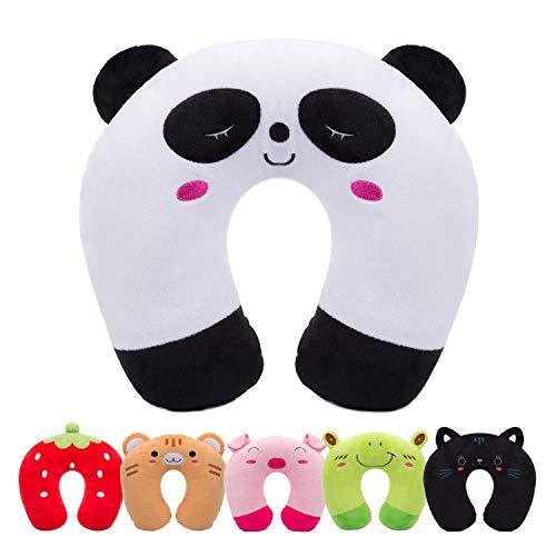 Oreiller de Voyage Enfant H HOMEWINS Coussin de Cou Cadeau Noël Halloween Ultra Doux Oreiller Cervical Animaux pour Douleurs au Cou de Sommeil pour Siège Voiture TGV Avion (Panda)