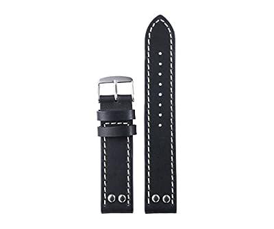 20mm 22mm estilo vintage negro de calidad superior con las correas de reloj remaches de cuero para hombres acabado mate medio acolchado con costuras en contraste blanco