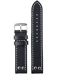 20 mm style vintage noir de qualité supérieure avec des rivets bracelets de  montres en cuir pour hommes finition… 86e08d8c7c7