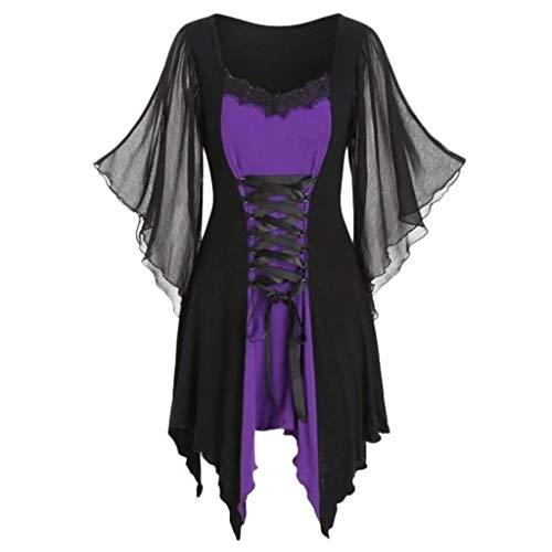 Huacat DamenGothic Kleid Langarm Spitzenkleid Saum Vintage Mittelalter Viktorianischen Königin Kostüm V-Ausschnitt Prinzessin Renaissance Kleider