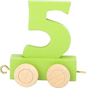 """small foot design 10567 - Número de Trenes (5"""", Madera de Colores, con Cuatro Ruedas pequeñas, así como Posibilidades de conexión con Otros Trenes de números)"""