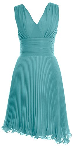 MACloth Women V Neck Chiffon Cocktail Dress Short Bridesmaid Dress Formal Gown Turquoise