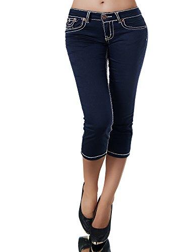 K900 Damen Capri Jeans Hose Damenjeans Caprihose Caprijeans Bermuda Dicke Naht, Größen:36 (S), Farben:Navy