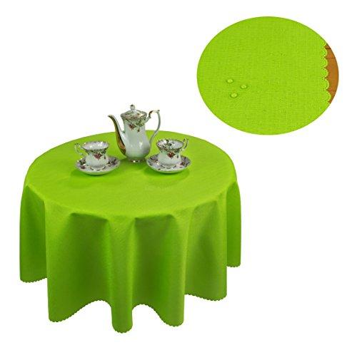 Tischdecke abwaschbar Tischläufer Gartentischdecke Leinen Optik Rechteckig Rund (160 cm Rund, Grün)