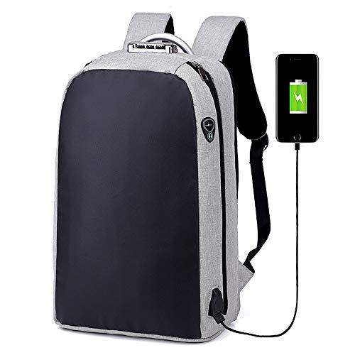 BQSWYD Diebstahlsicherer Rucksack, Laptop-Rucksack Für Die Diebstahlsicherung Mit USB-Ladekopfhöreranschluss und Schlankem, Wasserdichtem Daypack Für 15,6-Zoll-Computer,LightGray