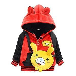 Abrigo para Bebés | Niños Niños Invierno cálido Dibujos Animados Animal Cremallera Chaqueta con Capucha Abrigo con bolsa6 Meses - 4 años 11