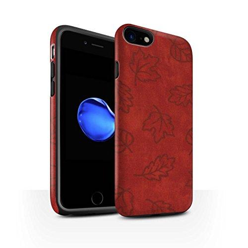 STUFF4 Matte Harten Stoßfest Hülle / Case für Apple iPhone 8 / Orange Muster / Blatt Muster/Textil Effekt Kollektion Rot