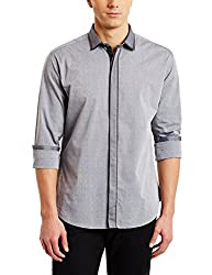 V Dot by Van Heusen Mens Dress Shirt (8907445901102_VDSF316E03692_Black_44)