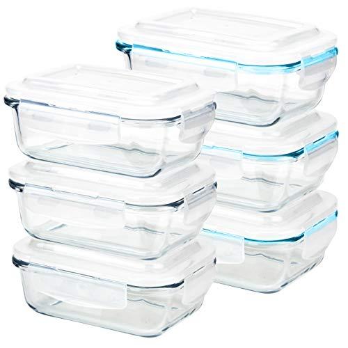 Grizzly Frischhaltedosen Glas 6 Stück Set rechteckig 370 ml Vorratsdosen mit Deckel