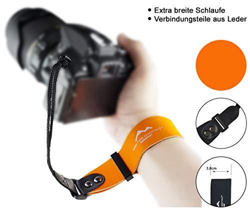 Neopren Kamera-Handschlaufe EXTRA BREIT   orange   ECHT Leder Verbindungsteile   DSLR Kompakt-Kamera spiegellose Systemkameras Kameraschlaufe Handgelenk-Schlaufe Trageschlaufe   MIND CARE ESSENTIALS -