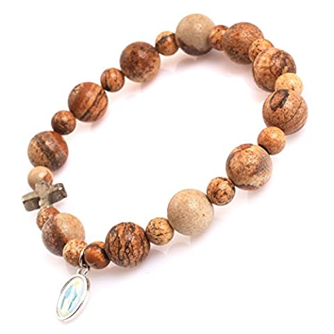 Mala Anglican Muslim Catholic Christian Episcopal Prayer Rosary Beads Bracelet for Men 7'' Handmade (Picture Jasper/10MM)