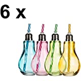 Diseño de vasos–Bombilla de colores con metal más cerca y pajitas de plástico–6unidades