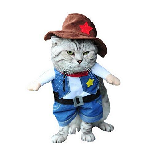 tore Kleine Hunde Kostüm Western Cowboy Pet Coat Puppy Katze Kleidung mit Hut, Größe M, blau (Cartoon-paare Kostüme)