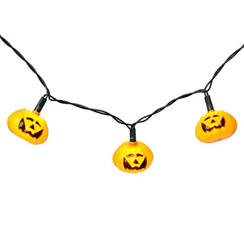 Heitmann Deco 6938 House of Halloween - LED Mini Lichterkette Kürbis, orange