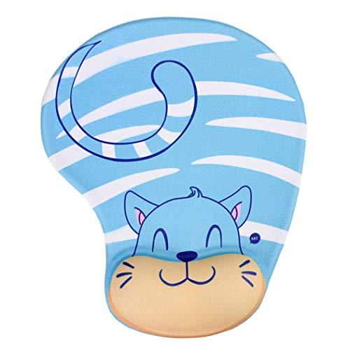 Niedliches Mauspad mit Handgelenkstütze, niedliche Tiere, Katzenbienen-Mauspad, weiches Kissen, Memory-Schaum, Handgelenkauflage, Gel-Pad, rutschfeste PU-Unterseite Blaue Katze