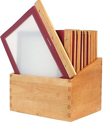 Securit Wood Protège-Menu de restaurant avec 20 protèges-cartes de restaurant A4 à pochette double Rouge vin