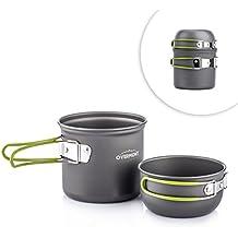 Overmont 2pics kit de utensilios de cocina vajilla ollas para camping senderismo excursión al aire libre de aluminio