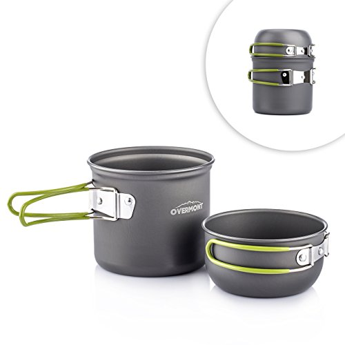 Overmont Portable 1-2 Person Outdoor Camping Hiking Picnic Aluminum Alloy Pot Bowl Cookware Set