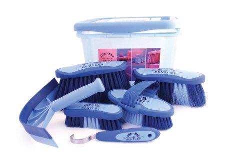 Bentley - Set di spazzole per pulizia e strigliatura cavallo, colore blu