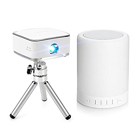 Ligh twish Blanc Mobile Mini Projecteur à technologie DLP + Veilleuse Haut-parleur Bluetooth + Mini trépied + Télécommande pour Apple iPhone 6 6Plus 5s Android iOS Mac Window 10 Laptop os