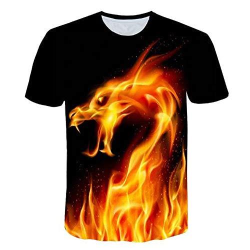 Männer Frühling Sommer Männer T-Shirts 3D Gedruckt Tier t-Shirt Kurzarm Lustige Design Casual Tops Tees Männlich,Flamme des Druckes 3D - EIN schwarzes 3XL (Cougar Cookie Cutter)