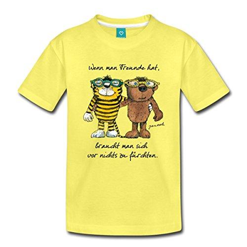 Spreadshirt Janosch Tiger Und Bär Wenn Man Freunde Zitat Kinder Premium T-Shirt, 98/104 (2 Jahre), Gelb