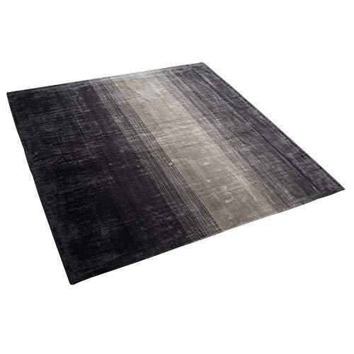 Beliani Teppich Viskose Gradient grau-schwarz 200x200 cm Modernes Design Ercis