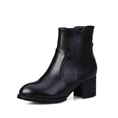 AgooLar Damen Mittler Absatz Rein Spitz Zehe Blend-Materialien Stiefel Schwarz