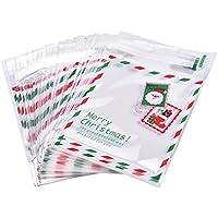 Doitsa 100x Bolsa de Galletas Adhesivo Feliz Navidad Candy Popcorn Bag Bolsa de Opp Plástico Calcetín