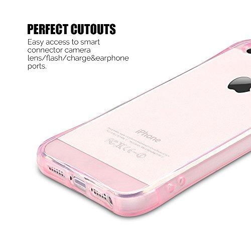 Coque iPhone 5 / 5S / SE (4.0 pouce) , TPU Transparente Case Silicone Slim Souple Étui de Protection Flexible Soft Cover Anti Choc Ultra Mince Couverture Bumper Anfire Housse pour iPhone 5 - limpidité Rose