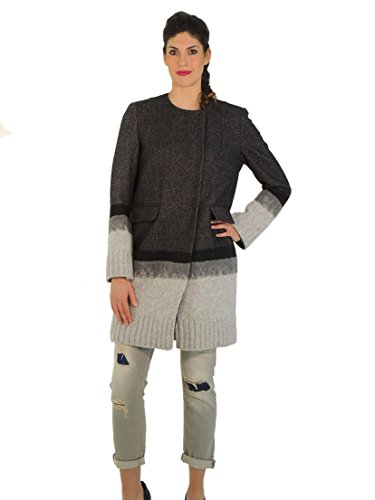 Dondup cappotto donna girocollo in lana a righe con zip J911 (42, GRIGIO)