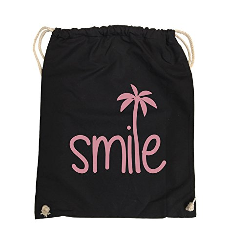Comedy Bags - smile - PALME - Turnbeutel - 37x46cm - Farbe: Schwarz / Pink Schwarz / Rosa