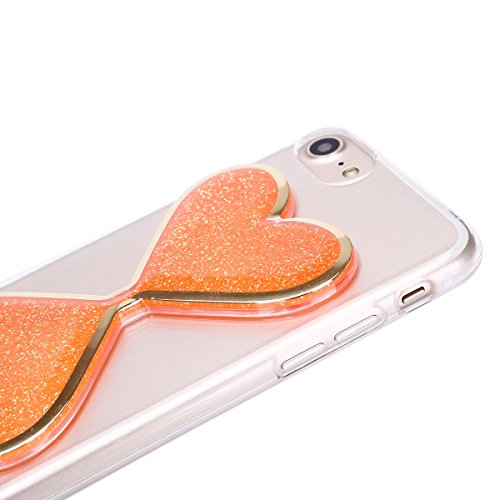 SainCat Coque Apple iphone 7 Plus,Design 3D Transparent Liquide Paillette Brillante Coque Plastique Etui Housse,iphone 7 Plus Glitter star Protecteur Dur Etui Housse de Protection, Étui Coque étui de  Sanduhr Treibsand-Orange