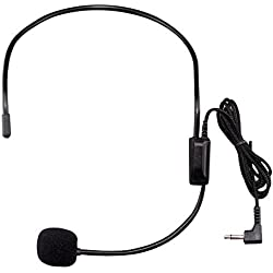 HUACAM YYPJ02 Condensador Headset Micrófono, Boom Wired flexible (estándar de 3,5 mm conector Jack) para la correa Paquete Sistemas de micrófonos (2 x Auricular con micrófono)