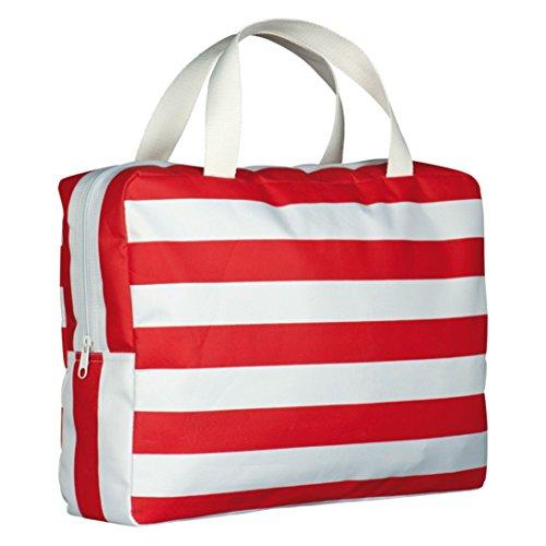 Rot Weiss gestreifte Strandtasche Beachbag Shopper aus Mikrofaser mit Reissverschluss (Gestreifte Strandtasche)