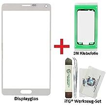 iTG® PREMIUM Juego de reparación de cristal de pantalla para Samsung Galaxy Note 4 Blanco (Frost White) - Panel táctil frontal oleofóbico para N9100 N9105 LTE + 3M Adhesivo precortado y iTG® Juego de herramientas