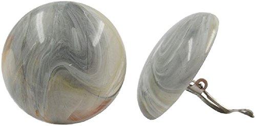 Unbespielt Modeschmuck Damen Schmuck Ohrschmuck Ohrringe Ohrclip Riss beige grau 30 mm