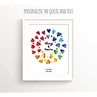 Lesbian Wedding Gifts, Custom Wedding Gift, Gay Anniversary Print, Personalised Civil Partnership UNFRAMED