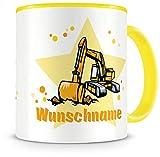 Samunshi® Kinder-Tasse mit Namen und einem Bagger als Motiv Bild Kaffeetasse Teetasse Becher Kakaotasse Nr.5: gelb H:95mm / D:82mm