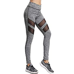 FITTOO Modische Mesh Leggings Fitness Hosen Gaze Yoga Pants Hoher Bund Joggen Leggings Sportbekleidung Workout Schwarz