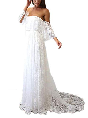 JAEDEN Robe de Mariage Robes de mariée Femmes Dentelle Boheme Robe de Plage épaule Off Blanc EUR36