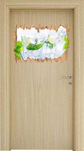 Mojito-Gläser mit Minze Kunst Buntstift Effekt Holzdurchbruch im 3D-Look , Wand- oder Türaufkleber...