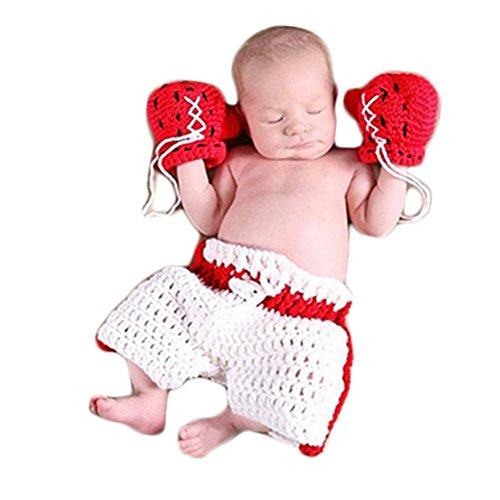 Neugeborenen Babyfotografie Props Kostüm Jungen Mädchen Baby Fotografieren Fotoshooting Set Requisiten Accessoire Boxen Handschuhe Hose (White/Weiß)