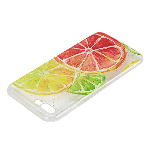 Custodia iPhone 7 Plus Silicone, Custodia Cover per iPhone 7Plus in Silicone Transparente, JAWSEU Creativo Disegno Ultra Sottile Slim Cristallo Chiaro Custodia per iPhone 7 Plus Protettiva Bumper Case Limone