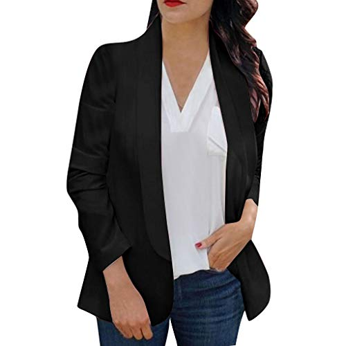 Crewneck Knit Top (Damen Jacken Sexy Langarm Blazer Rundhals Solid Bluse Tops Frauen Jacke Work Office Coat Slim Fit Mantel (M, Schwarz))