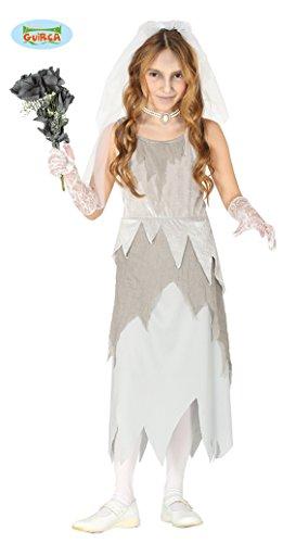 Guirca Kostüm Braut Cadavere Fantasie Mädchen 7/9 Jahre, Farbe Grau, 87795 (Fantasy Braut Kostüm)