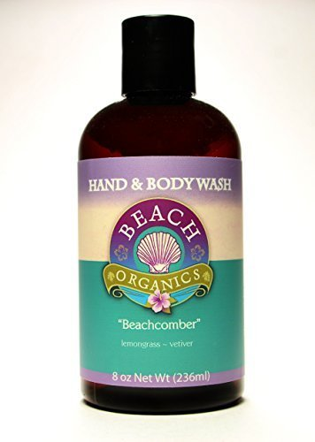 Natural Bodywash with Organic Ingredients and Aloe, Beachcomber Scent (Lemongrass and Vetiver Essential Oils). Made and sold by Beach Organics. 8.0 oz. by Beach Organics Skin Care