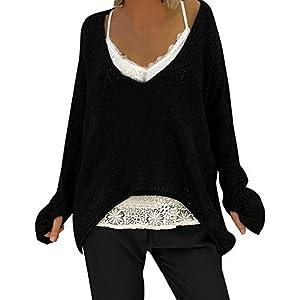Damen Pulli Herbst Winter lose Langarm V-Ausschnitt Pullover Lose Asymmetrisch Sweatshirt Bluse Oberteile Oversized Tops T-Shirt von Innerternet
